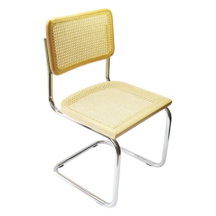Marcel Breuer Cesca Cane Chrome Side Chair In Natural