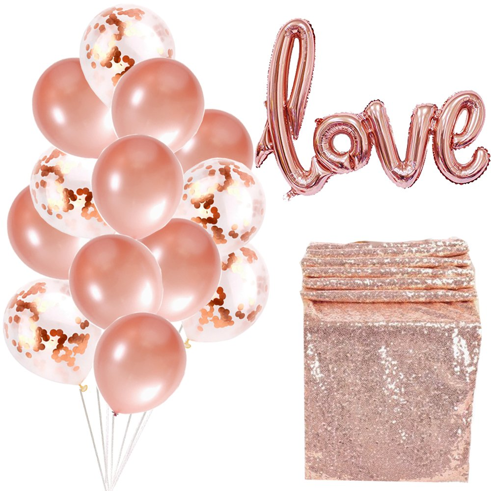 Rose Gold Bachelorette Party Baby Shower Party Birthday Party Valentine Decorations Include Rose Gold Balloons,Table Runner