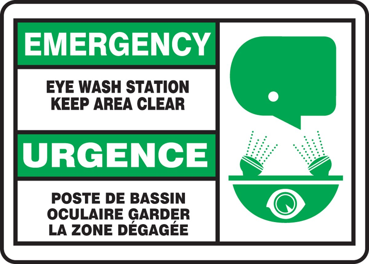 LegendEMERGENCY EYE WASH STATION KEEP AREA CLEAR Accuform FBMFSD928MXT Dura-Plastic French Bilingual Sign Green//Black on White 7 Length x 10 Width x 0.060 Thickness