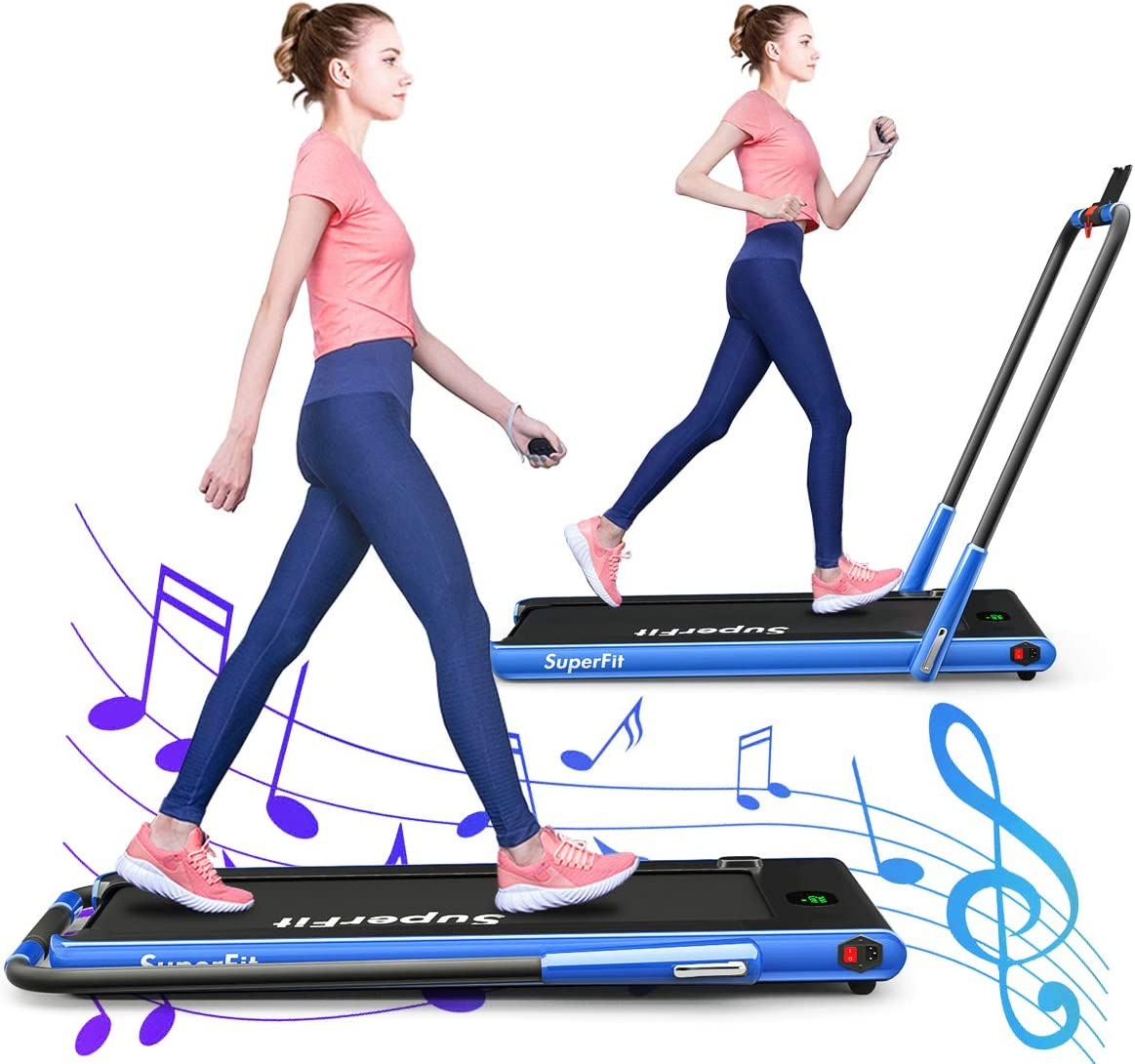 GYMAX Folding Treadmill, Electric Running Machine with Blue-Teeth LED Screen, Portable Under-Desk Walking Machine for Home, Office, Gym