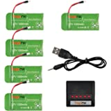 Hapinic 5 Pcs 3.7V 1200 mAh 25C Lipo Battery + 5-Port Quick Charger for Syma X5SW X5SW CX-30W RC Quadcopter Drone Replacement