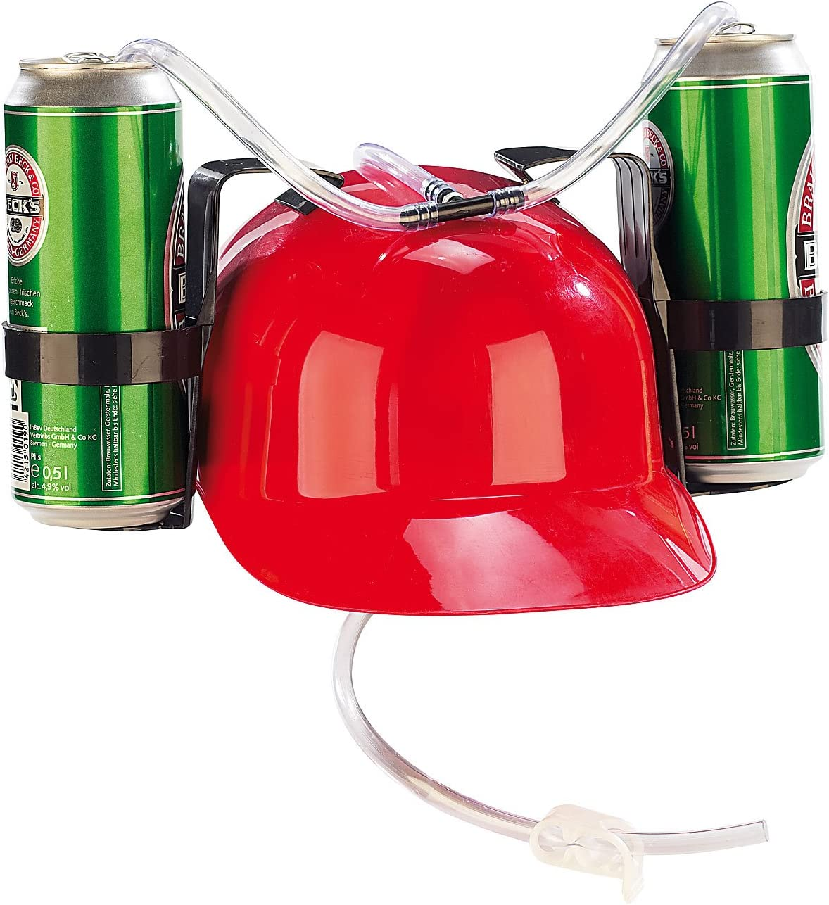 infactory Trinkhelm Trinkerhelm Bierhelm mit 2 Dosenhaltern und Trinkschlauch