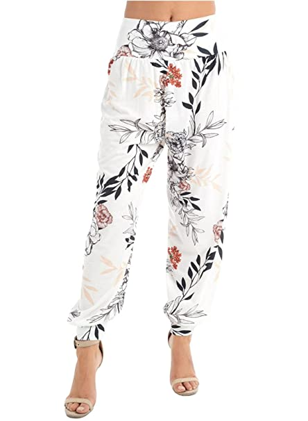 ff758293 New Womens Tropical Floral Leaf Printed Loose Fit Alibaba Harem ...