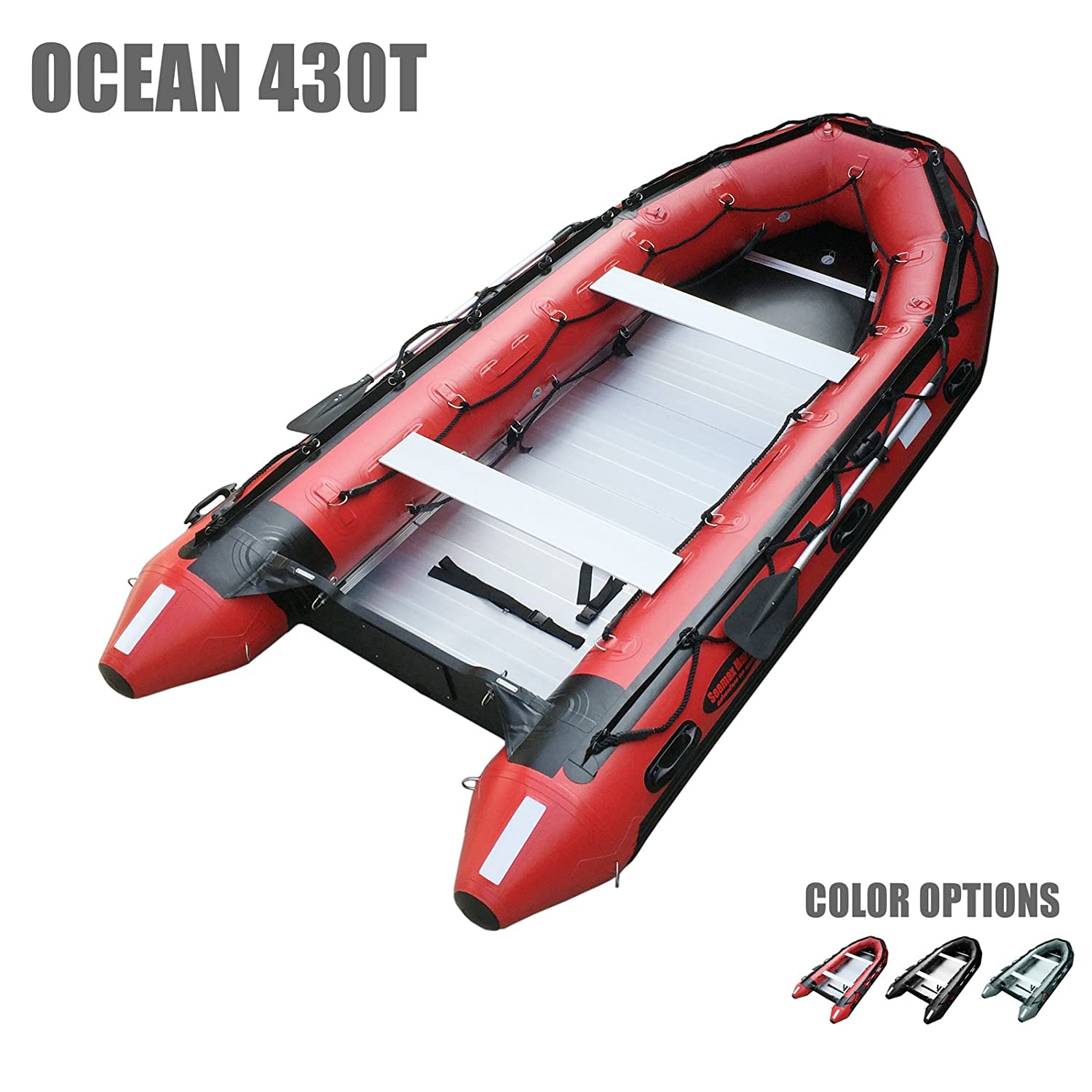 5 Pontoon Chambers x 6.4ft Max Support 35HP Motor Aluminum Floor SEAMAX Ocean430T Commercial Grade Inflatable Boat Multi-Purpose Coast Guard Standard Reflective Tapes 14ft V Bottom