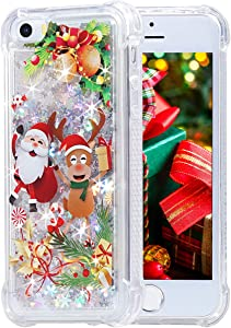 iPhone 5 5s SE Case, Flocute iPhone 5s Glitter Christmas Case Bling Sparkle Floating Liquid Soft TPU Cushion Luxury Fashion Girly Women Cute Festival Holiday Case for iPhone 5 5s SE (Christmas Moose)