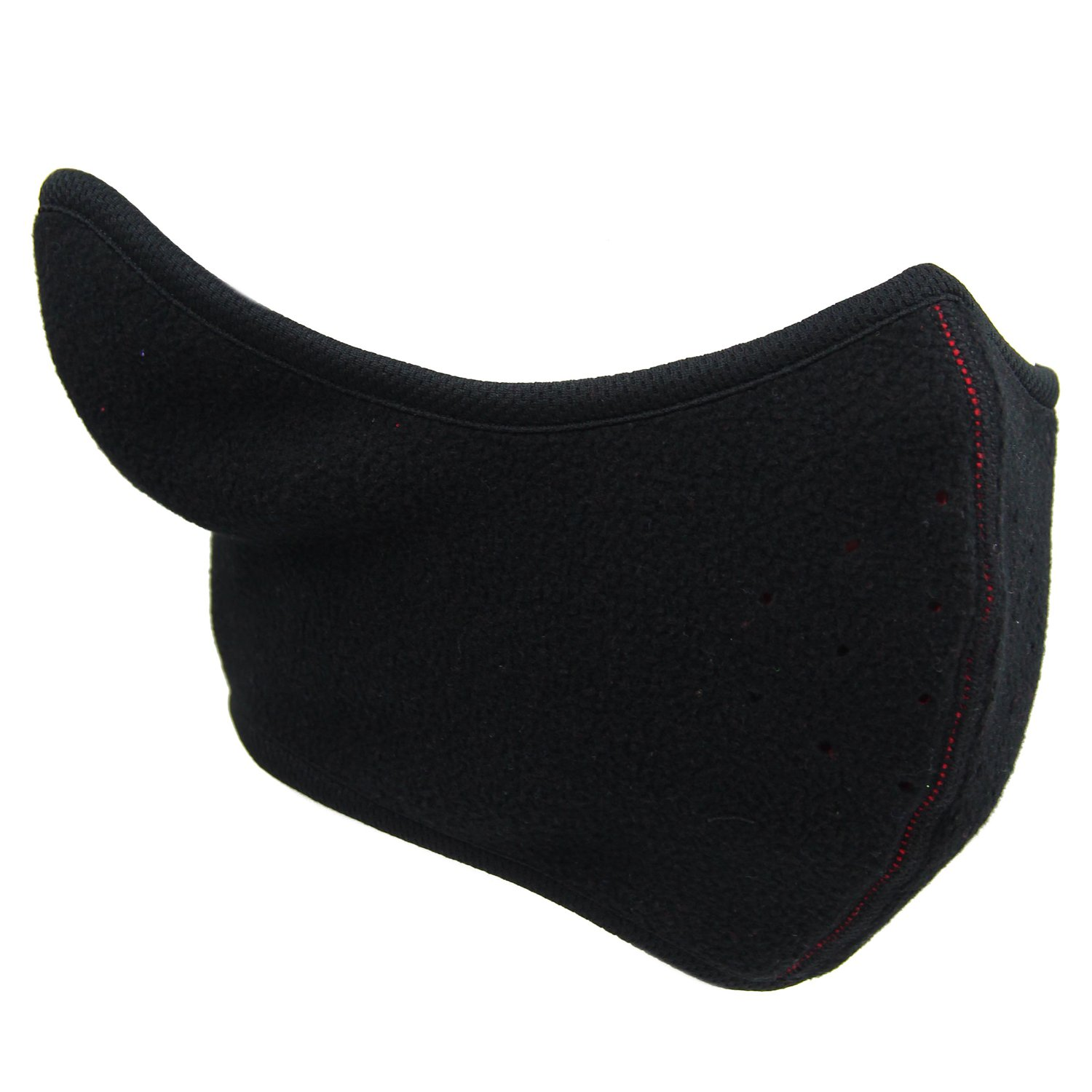 Kids Reversible Fleece Half Ski Face Mask Winter Ear Cover Warmer with Vent Hole Black) CA-QL-MK-KID-A-BLACK-L