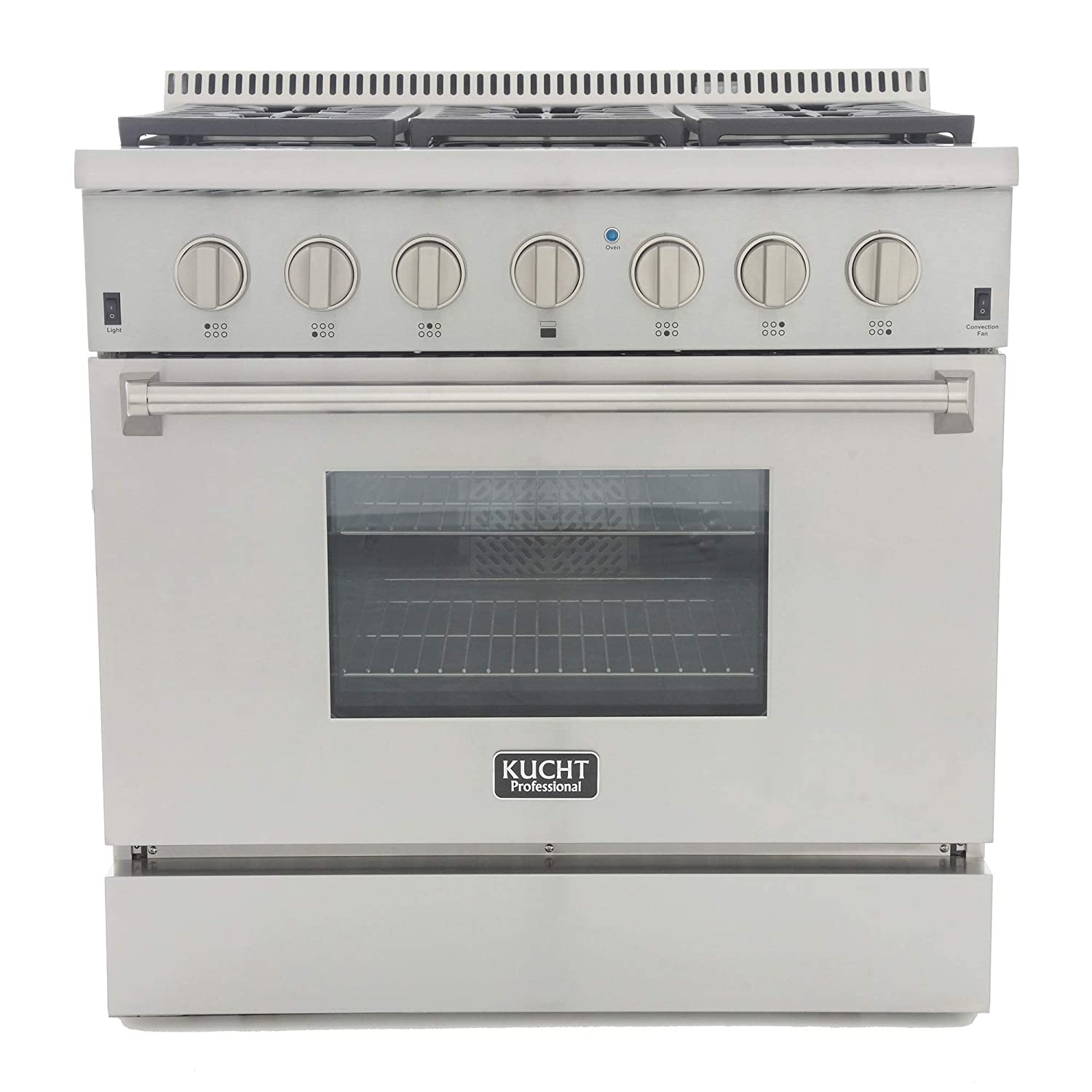 "Kucht KRD366F-S Professional 36"" 5.2 cu. ft. Dual Fuel Range for Natural Gas, Stainless-Steel, Classic Silver"