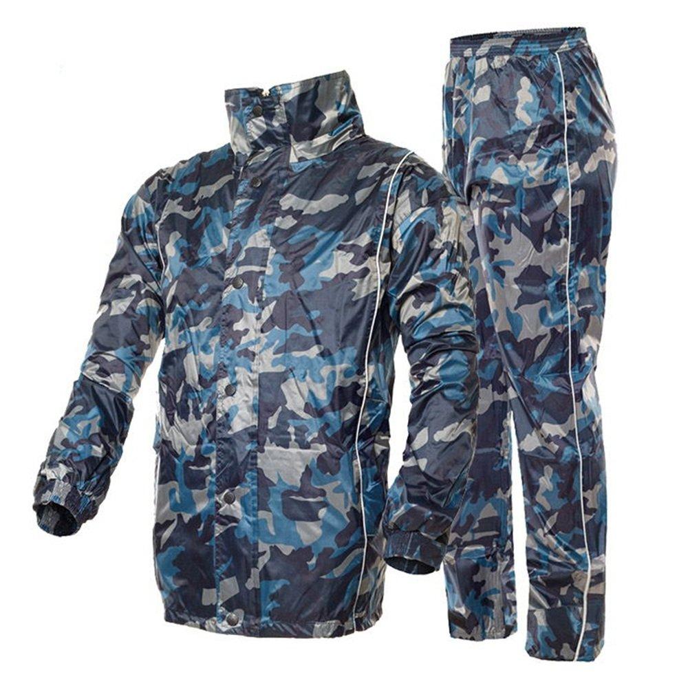 Aihifly tragbar Blau Camouflage Wasserdichte Double Adult Split Herren Regenmantel Anzug (Größe   XXXXL)