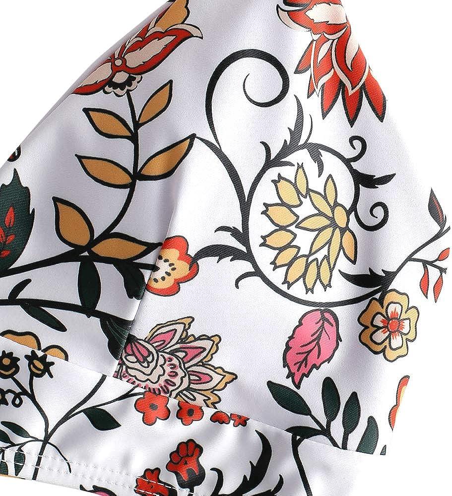 ZAFUL Damen Gepolsterter Bikini Set Bademode Badeanzug mit Blumenmuster Schn/ürung Zweiteilig