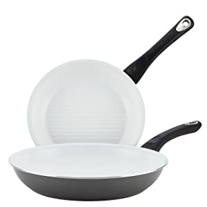Farberware 17505 PURECOOK Ceramic Nonstick Cookware Skillet Set, 9.25 & 11-Inch, Gray