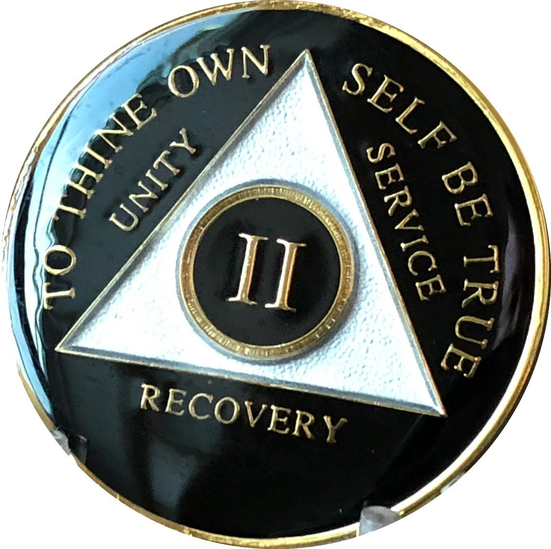 2 Year AA Medallion Glossy Black Tri-Plate Gold Plated Chip II