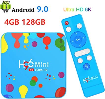 4G 128G Android TV Box HDR 6K, H96 Mini H6 Android 9.0 Smart TV ...