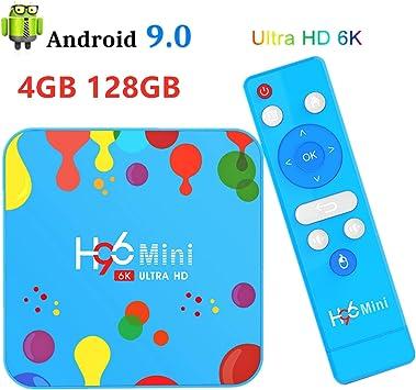 4G 128G Android TV Box HDR 6K, H96 Mini H6 Android 9.0 Smart TV Box Quad
