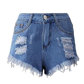 ca45e3f40ab4dd Btruely-Shorts Damen Sommer Jeans High Waist Shorts Damen Quaste Loch Kurze  Hose Skinny Jeans