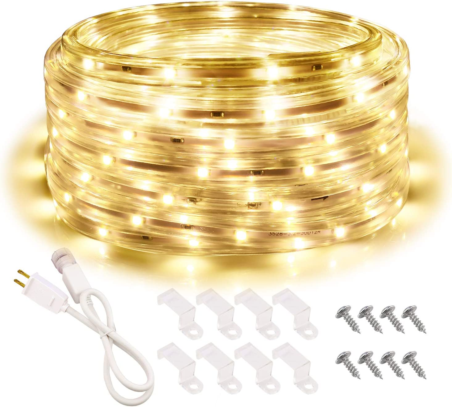 Areful LED Rope Lights, 16.4ft Waterproof Strip Light, 3000K Soft White, Indoor Outdoor Decorative Lighting for Home Christmas Holiday Garden Patio Party
