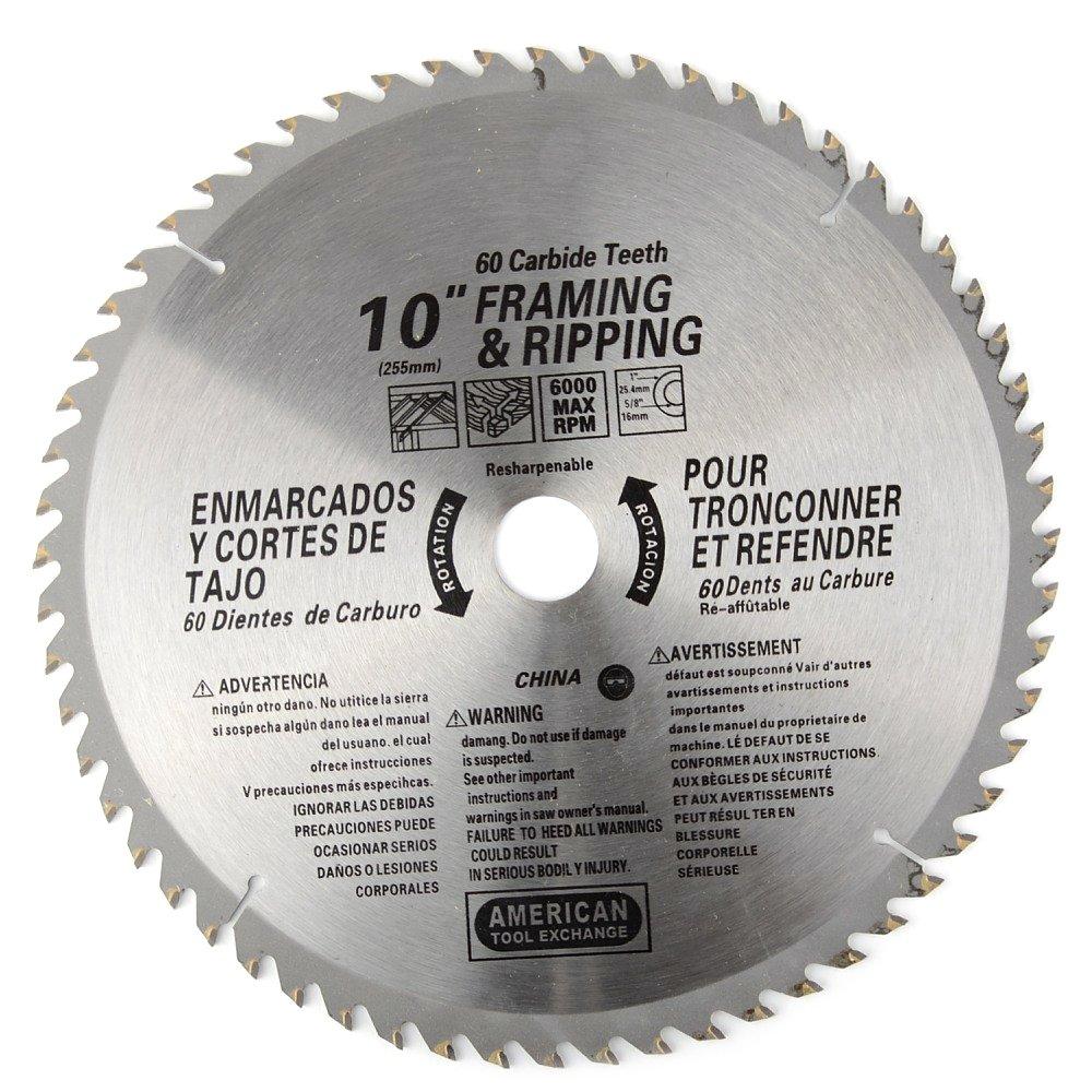 ATE Pro. USA 33016 60 Teeth Carbide Blade, 10'' by ATE Pro. USA