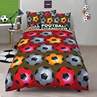 Kids 2 in 1 Reversible Quilt Duvet Cover and Pillowcase Bedding Bed Set Polycotton New colourful Designs (Football Champion Red, Single)