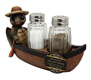 """Ebros Camper Turtle Zippy With A Hiker Hat Rowing Boat Salt And Pepper Shakers Holder Figurine With Glass Shakers 7""""L For Fans Of Boating Rafting Fishing Camping Outdoors Turtles Tortoises Decor"""