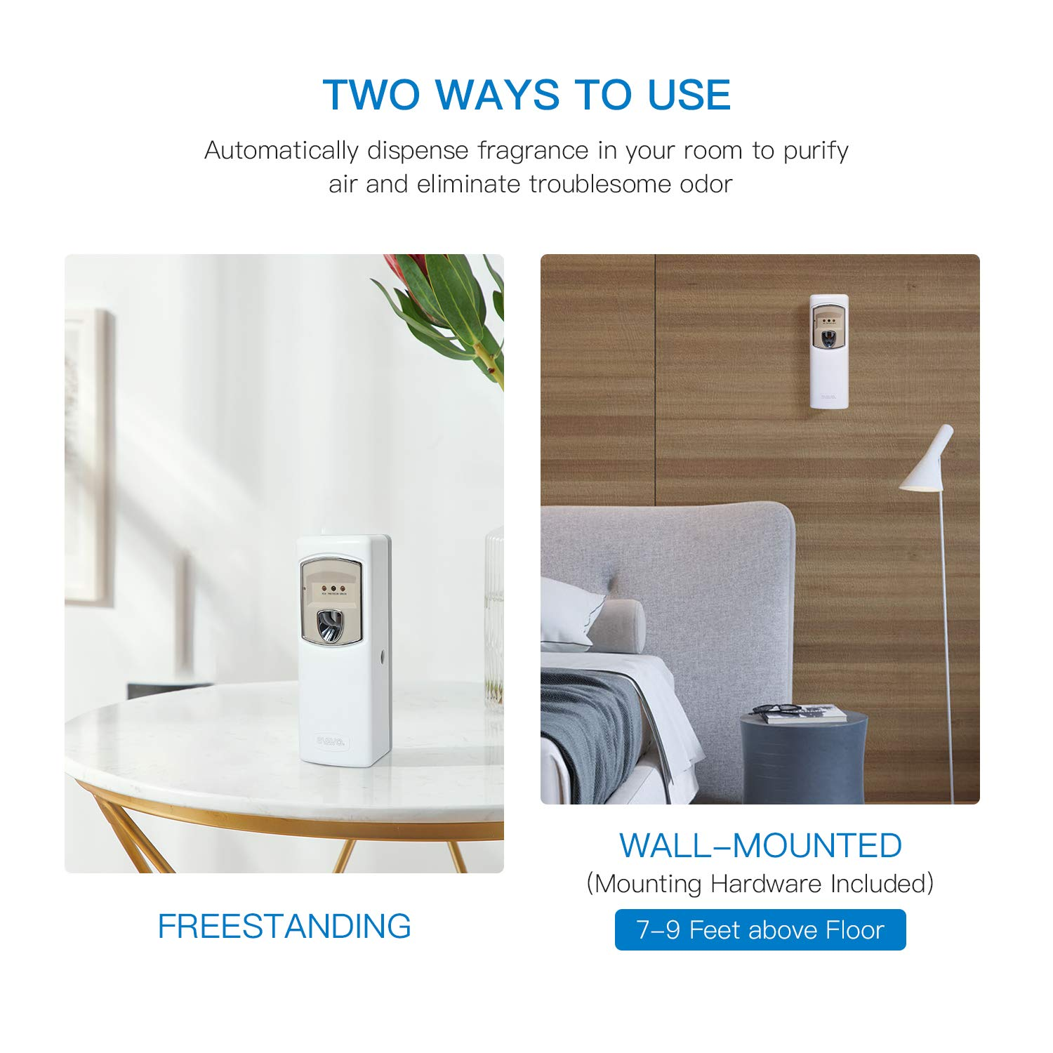 SVAVO Automatic Air Freshener Dispenser - Wall Mounted/Free Standing Auto Aerosol Spray Dispenser Programmable Fragrance Dispenser for Indoor-Bedroom, Hotel, Office, Commercial Place, White by SVAVO (Image #4)