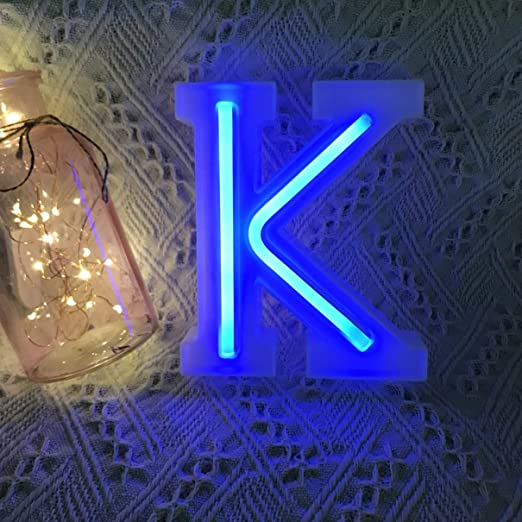 QiaoFei Light Up Marquee Letters Lights Letters Neon Signs, Pink Wall Decor/Table Decor for Home Bar Christmas, Birthday Party, Valentinefs Day Words-Blue Letters (K)