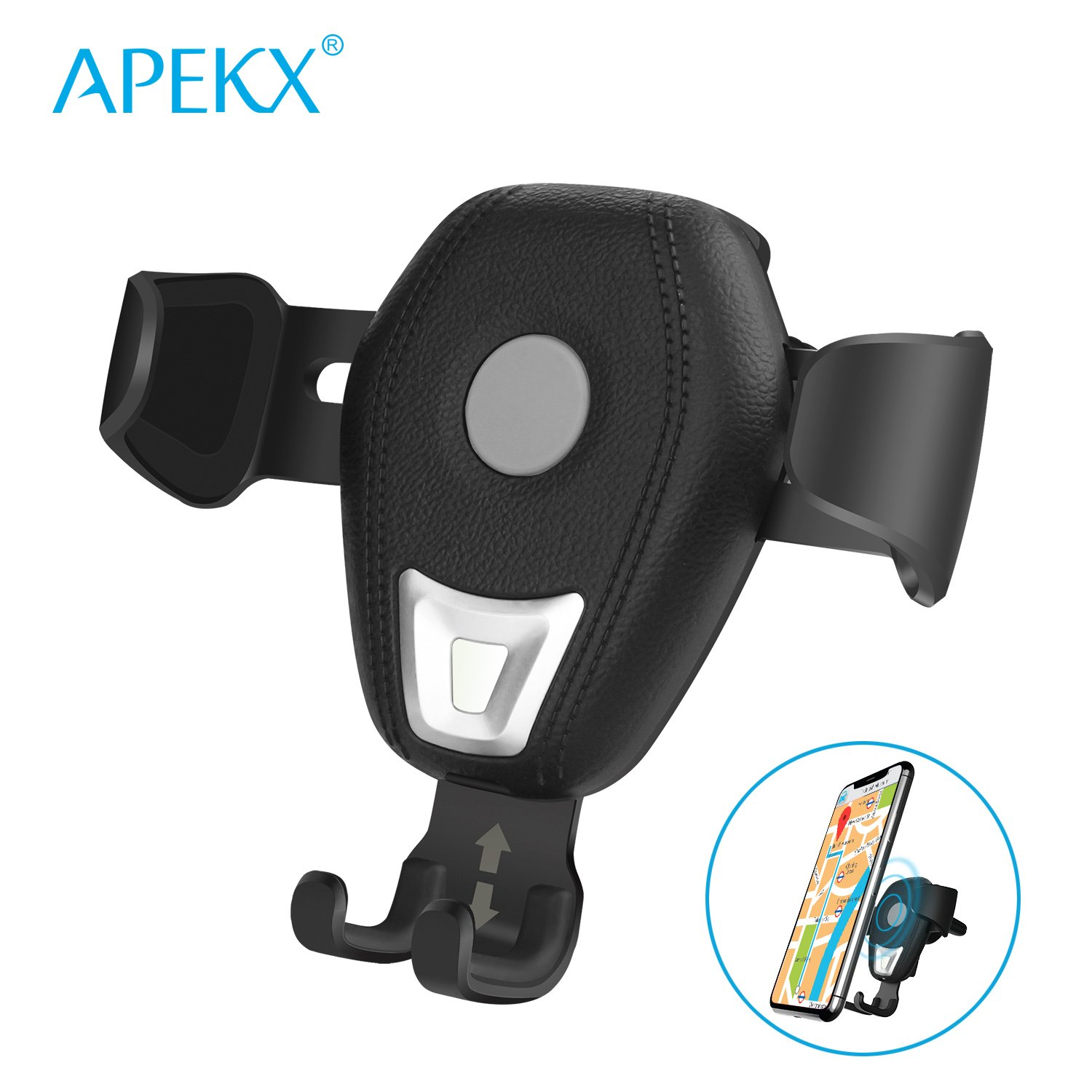 APEKX Qi Gravity Wireless Car Mount Charger, Wireless Charging Air Vent Cradle Phone Holder with Usb Car Adapter for iPhone X,8/8 Plus, Samsung Galaxy S9 S8 Plus S7 edge Note 8 & other Smartphone