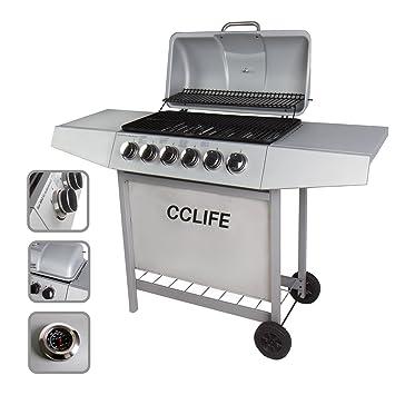 CCLIFE Carro Barbacoa de Gas Parrilla Barbacoa Gas con 3/4/5/6 quemadores BBQ, Color:Silver, Tamaño:6 Quemador