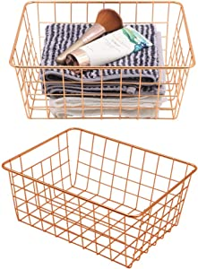 Metal Wire Storage Basket with Handles for Kitchen Food Pantry Papers Home Office Desk Basket Bathroom Laundry Room Basket Bedroom Bed Room, Rose Gold, 2 pack