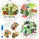 3 Pack Embroidery Starter Kit with Catus Palm Pattern and Instructions, Full Range of Stamped Embroidery Kits with 3…