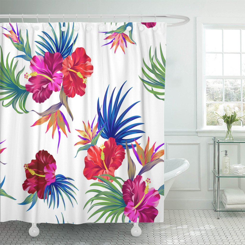 Emvency 72x78 Shower Curtain Waterproof Mildew Amazing Tropical Flowers Patten Design With Gorgeus Botanical Hibiscus Palm Bird Of Paradise File Picture