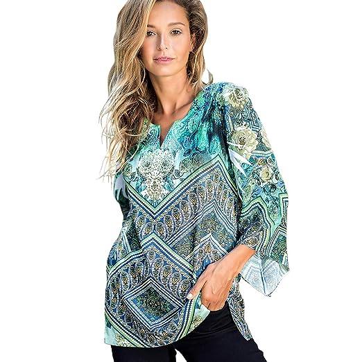 14f51d3def2479 OneWorld 3 4 Bell Sleeve Split Neck Boho Print Sequins Chiffon Blouse Shirt  Top for