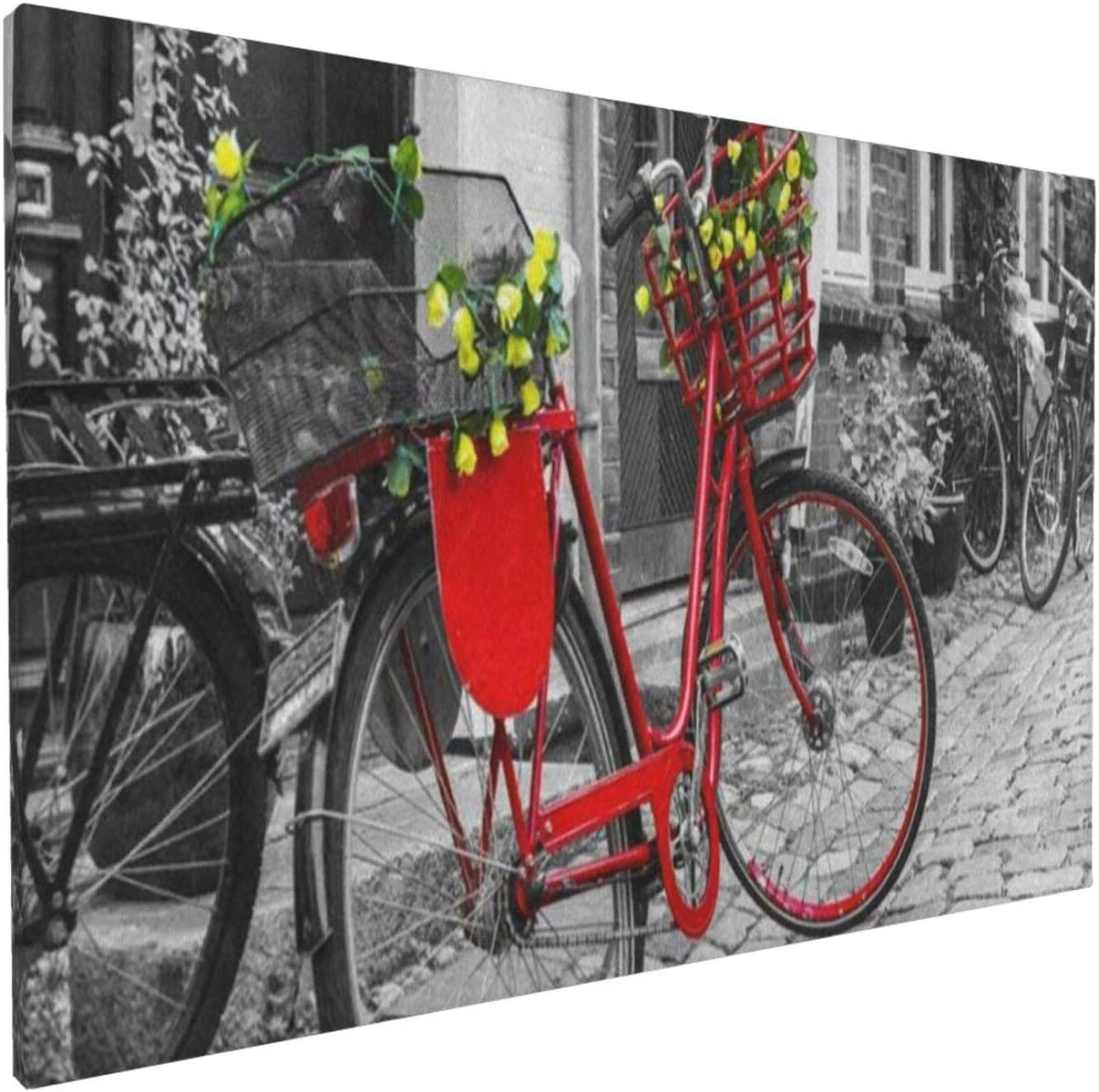 Abstract Wall Art Gallery Wall Decor, Vintage Red Bicycle On Cobblestone Street Wall Paintings, Farmhouse Decor for the Home, Wall Pictures for Living Room Frameless Wall Hanging Decor Paintings 18x12 Inch