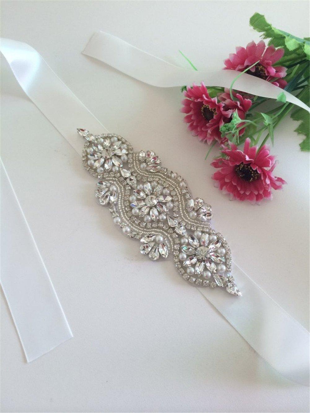 TRLYC - Fusciacca per abito da sposa, con diamanti sintetici applicati, colore trasparente ivory rib...