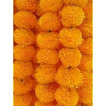 Pack of 10 Green Garlands Artificial Marigold 5 Feet Indian Fluffy Flower Wedding Home Decor For Decoration of DoorsTemplesWindowsWalls