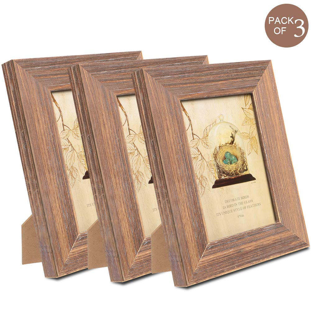 TNELTUEB 4x6 Picture Frames Solid Wood Rustic Wood Picture Frame Set with High Definition Glass for Wall Mount & Table Top Photo Display (3 Pack, Brown Wood Grain) by TNELTUEB