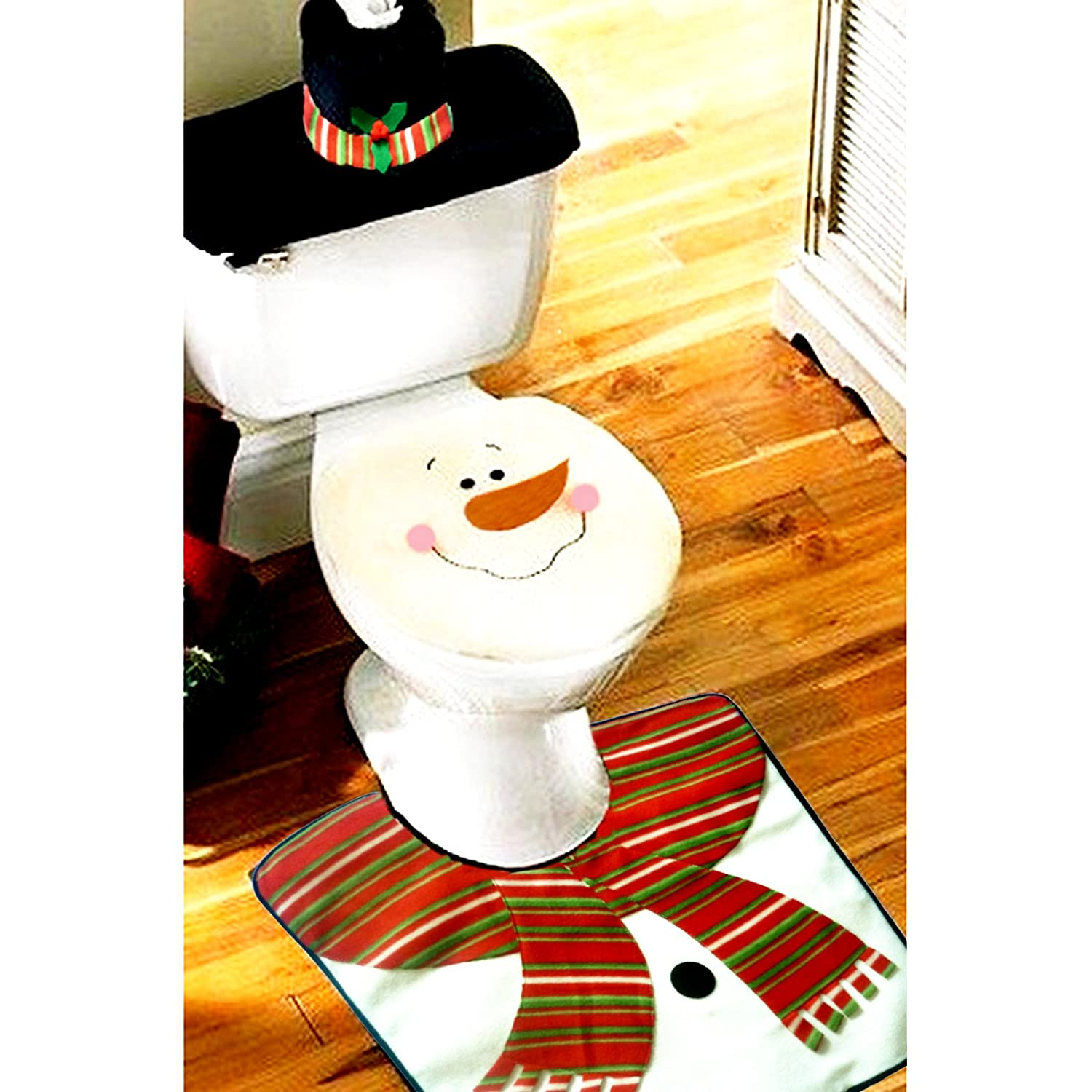 best Samber Christmas Decoration Santa Claus Toilet Set Including Seat Cover + Rug + Toilet Water Tank Cover + Tissue Box Cover