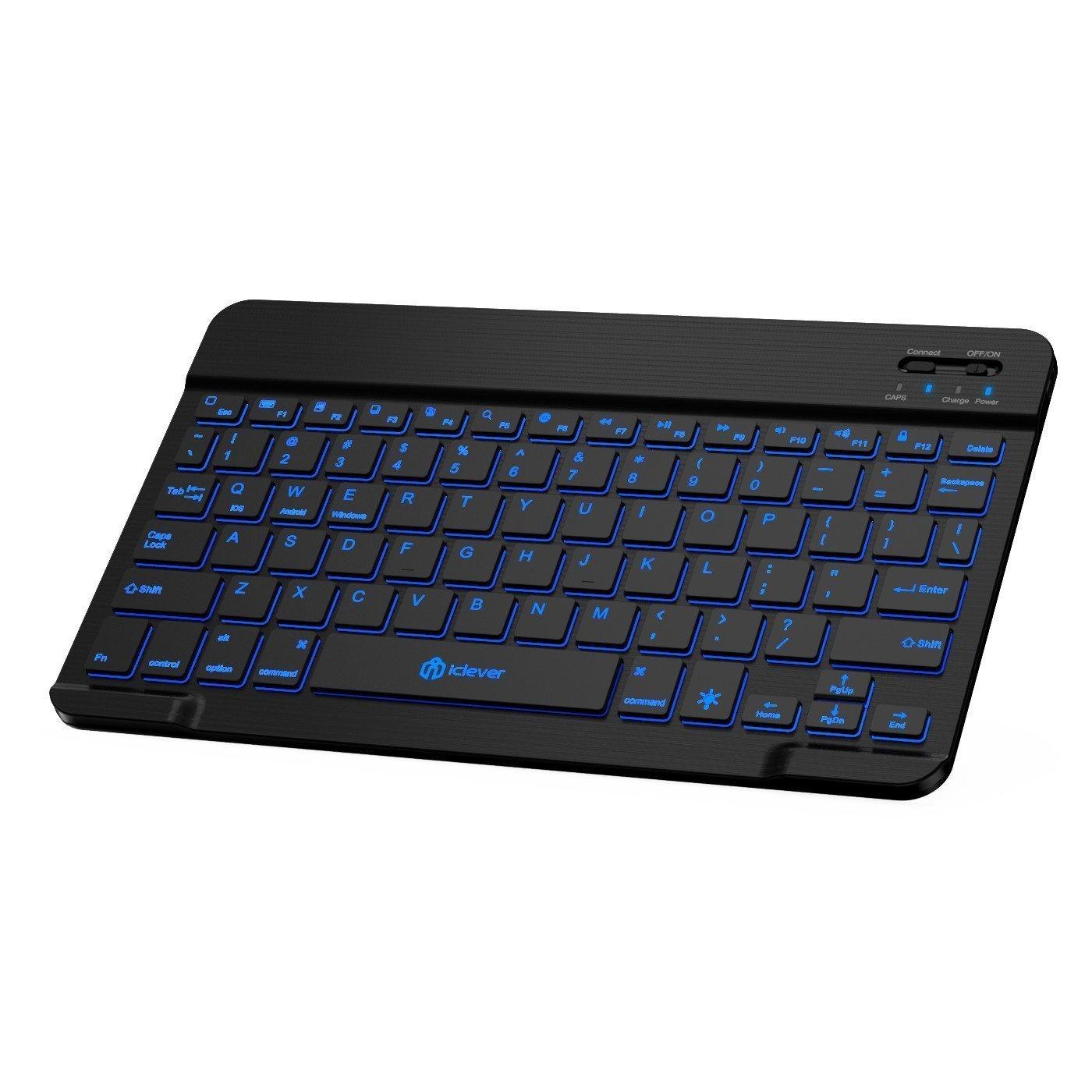 Teclado inalámbrico, teclado universal iClever con retroiluminación LED de 7 colores (QWERTY ES Layout), batería recargable incorporada, teclado portátil Slim Bluetooth silencioso para Windows, iOS, Mac, otras tabletas y teléfonos inteligentes IC-BK04
