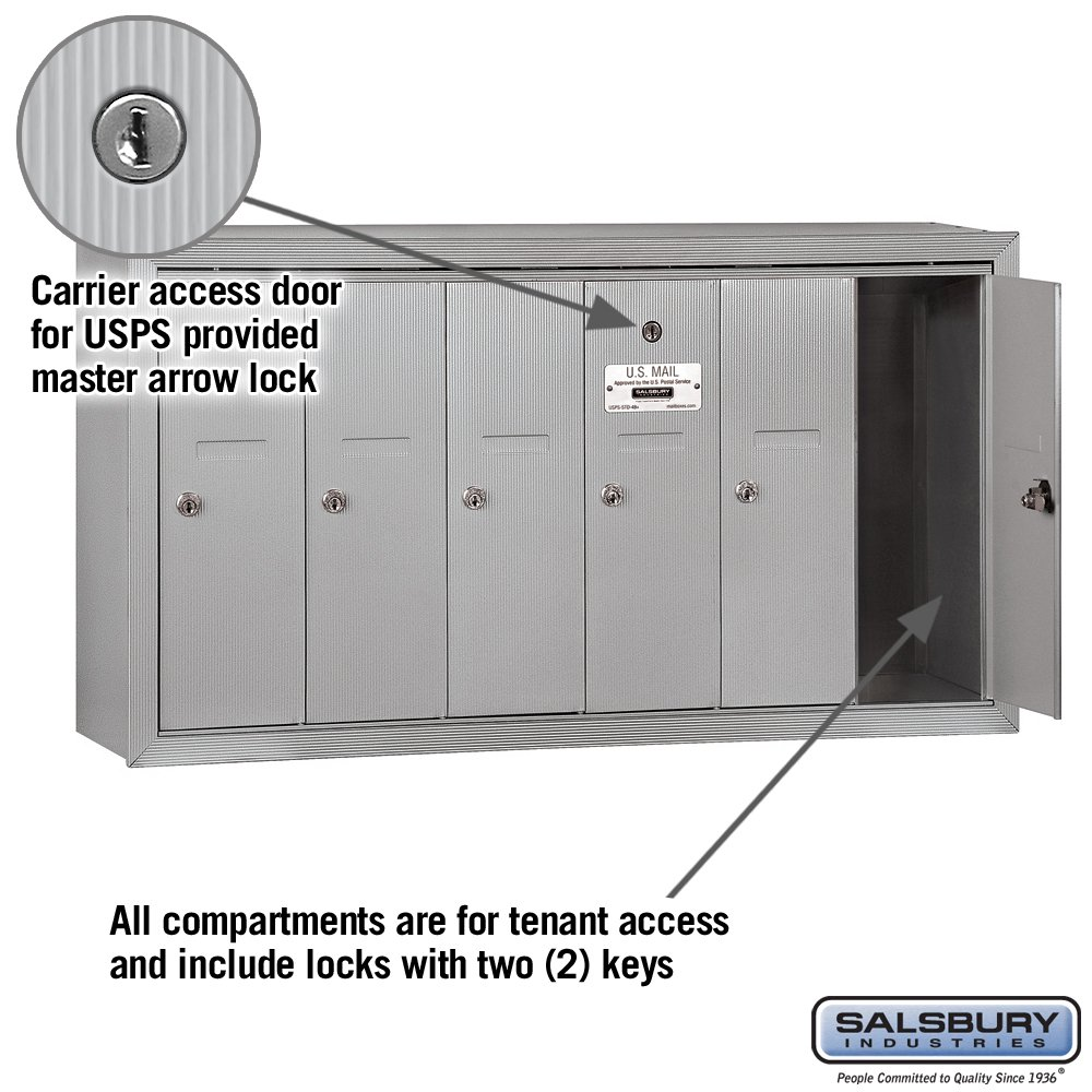 Tools & Home Improvement Green Salsbury Industries 3506GSU Surface Mounted Vertical Mailbox with USPS Access and 6 Doors Security Mailboxes