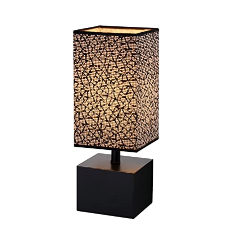 Modern Table Lamp, Black Wooden Base Desk Lamp,Bedside Lamp With Sci Fi