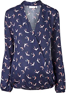 2HEARTS Umstands- und Still-Bluse Swallows Love is in The Air – Umstandsbluse aus Reiner Viskose mit Stillfunktion – blau Gemustert