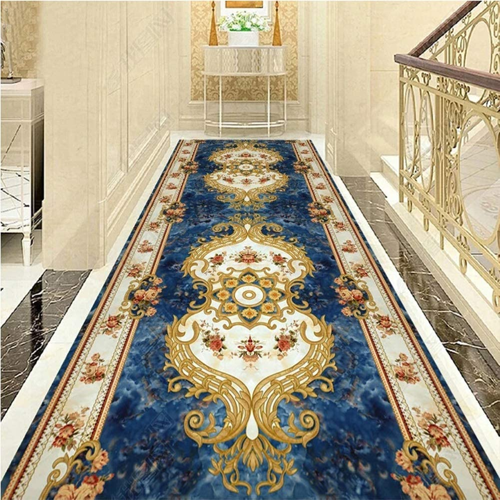 QTT Jacquard Runner Rugs Floral Throw Carpet Contemporary Printed Mat for Hallway Entryway Modern Home Dector Multi Size TTaN (Color : A, Size : 1.2X6m)