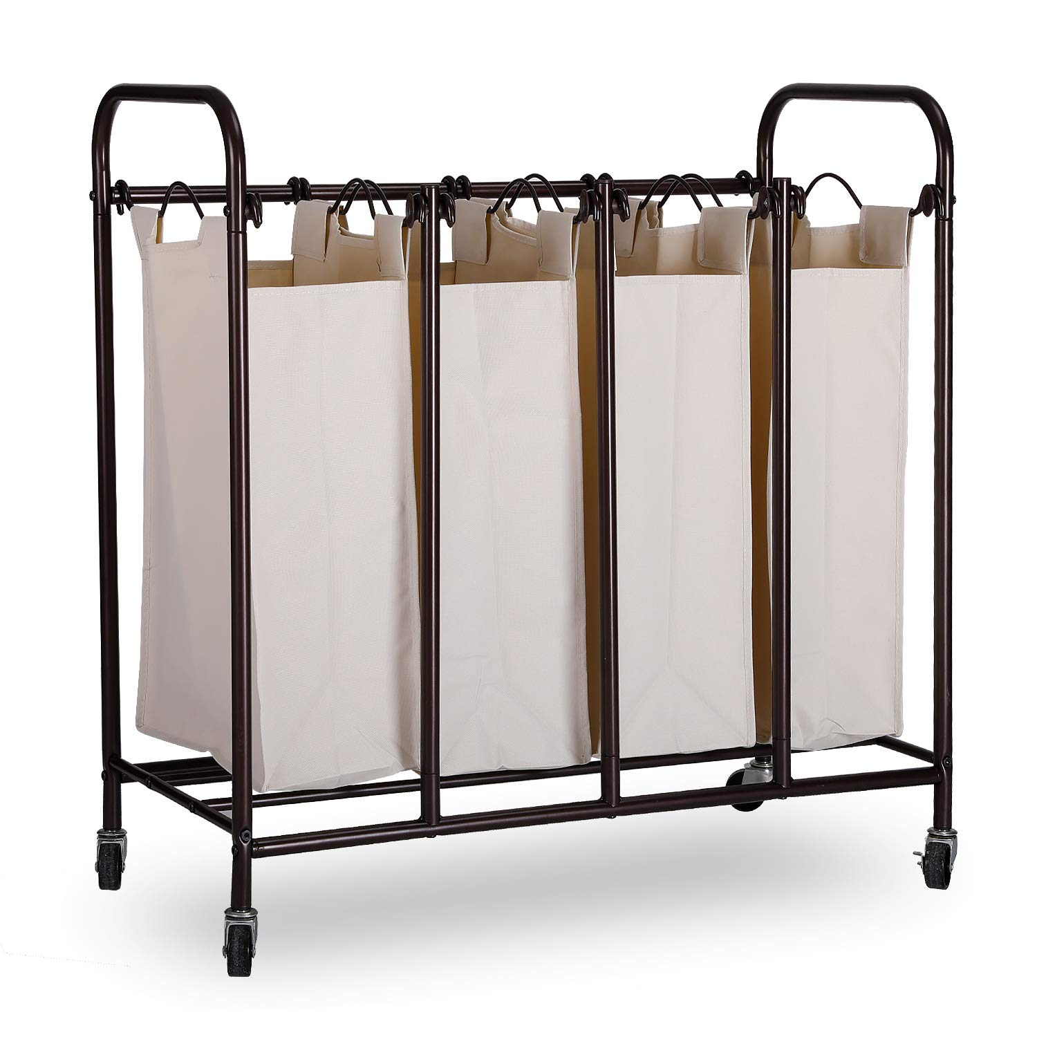 JZM Laundry Sorter Cart Easy Lifting Handles, a Sturdy Frame Heavy Duty casters. 4-Bag Laundry Hamper Sorter Cart YiCaiNianHua