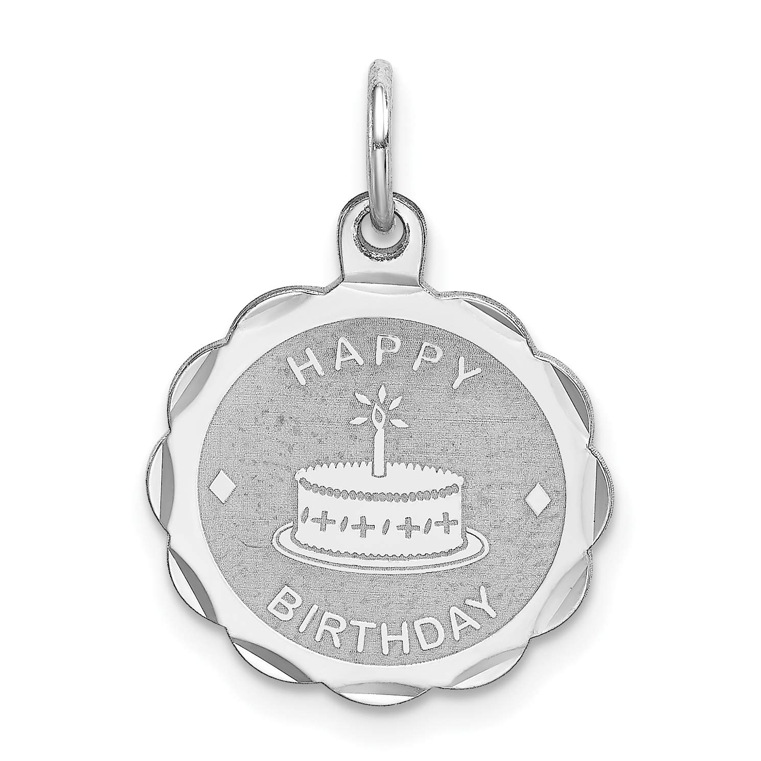 Happy Birthday Words and Cake on Round Charm in 925 Sterling Silver 22x15mm
