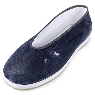 Chinese Male Handmade Cotton Shoes with Multi-layered Sole and Antiskid Rubber Outsole Blue