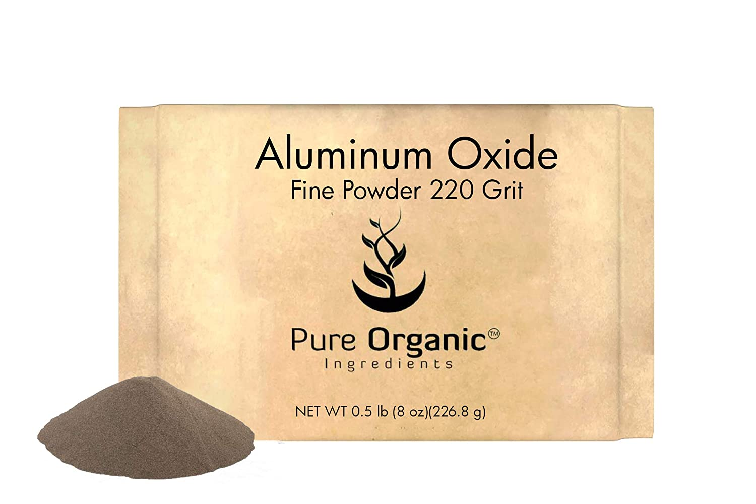 Aluminum Oxide (8 oz) by Pure Organic Ingredients, 220 Grit Fine Powder, Used in Ceramics for Etching, Polishing, and Sharpening Glass, Metal, Stone, Wood