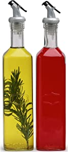 Circleware Yorkshire Olive Oil and Vinegar Dispenser Bottles Glass Dual Beverage 2-Piece Pourer Spouts, Home & Kitchen Decor Glassware Set, Best Selling Gifts, 19.6 oz, Clear