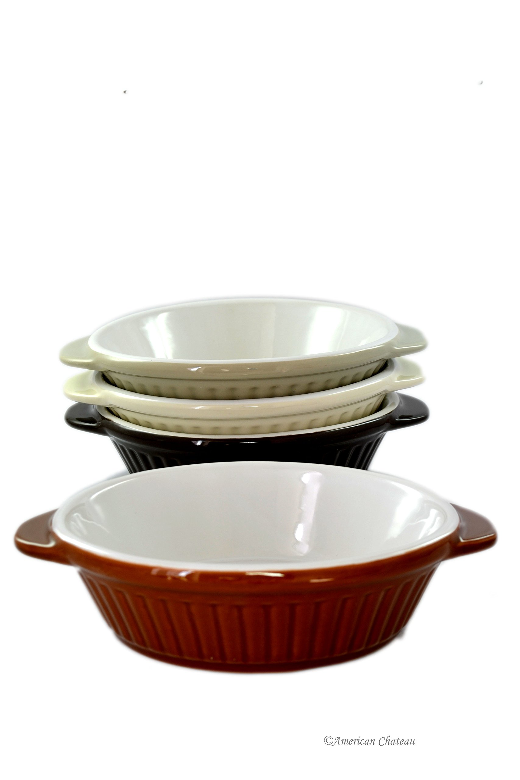 Set 4 Large Oven-Safe Assorted Color Porcelain Appetizer Au Gratin Baker Dishes by American Chateau (Image #1)