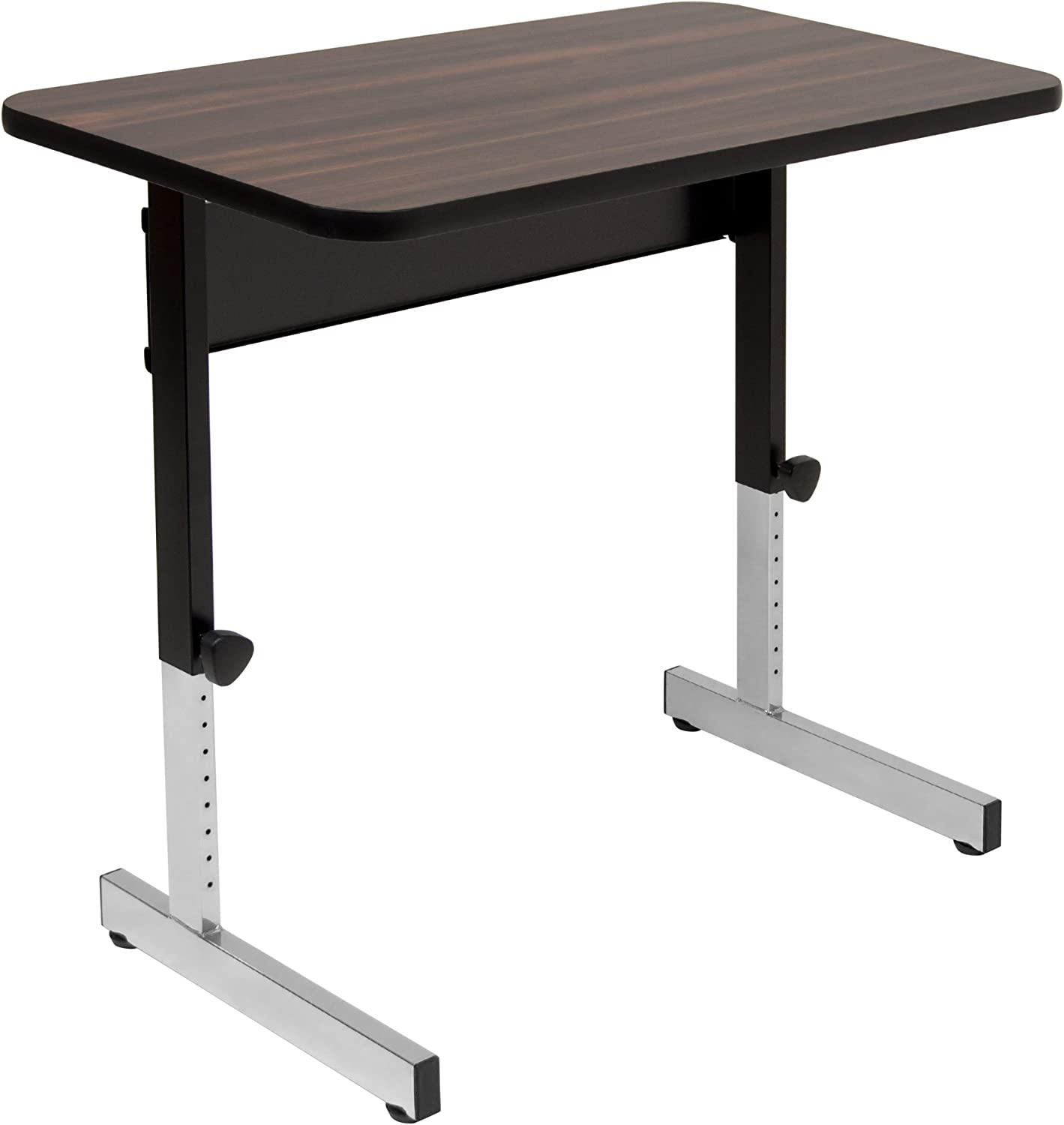 "Calico Designs Adapta Height Adjustable Office Desk, All-Purpose Utility Table, Sit to Stand up Desk Home Computer Desk, 23"" - 32"" in Powder Coated Black Frame and 1"" Thick Walnut Top, 36 Inch"