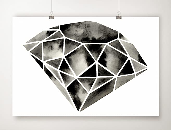 Geometric print diamond artwork black and white modern art minimal minimalist watercolor poster