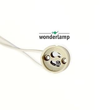 Pack 10 portalámparas cerámicos GU10 de la marca Wonderlamp con cable de conexión directo a red. Aptos para bombillas LED y halógenas.: Amazon.es: Hogar
