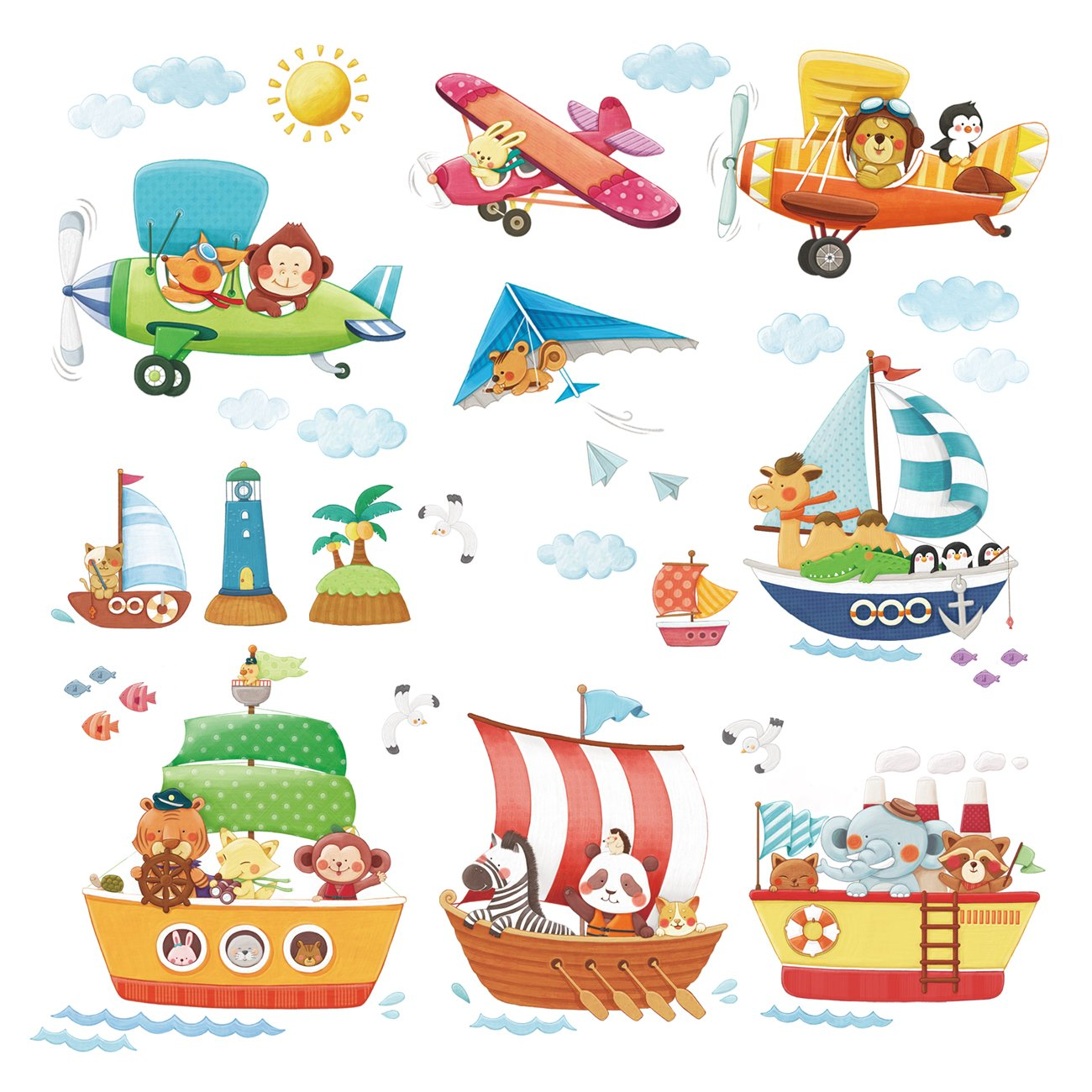 Amazon com decowall dat 1506 animal ships and 3 biplanes kids wall decals wall stickers peel and stick removable wall stickers for kids nursery bedroom